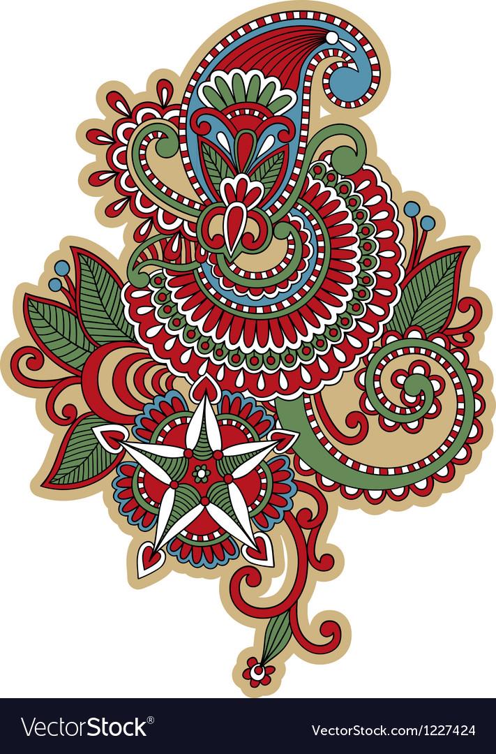 Hand draw ornate flower tattoo design vector image