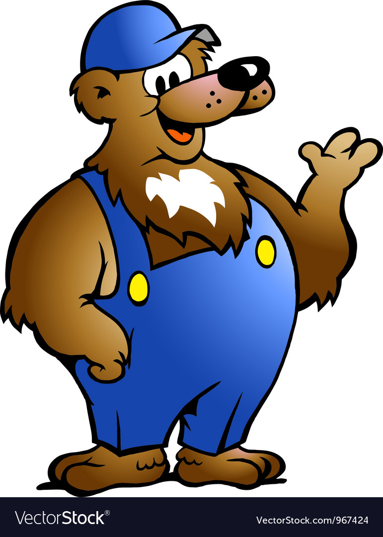 Hand-drawn of an Bear in Blue Overalls