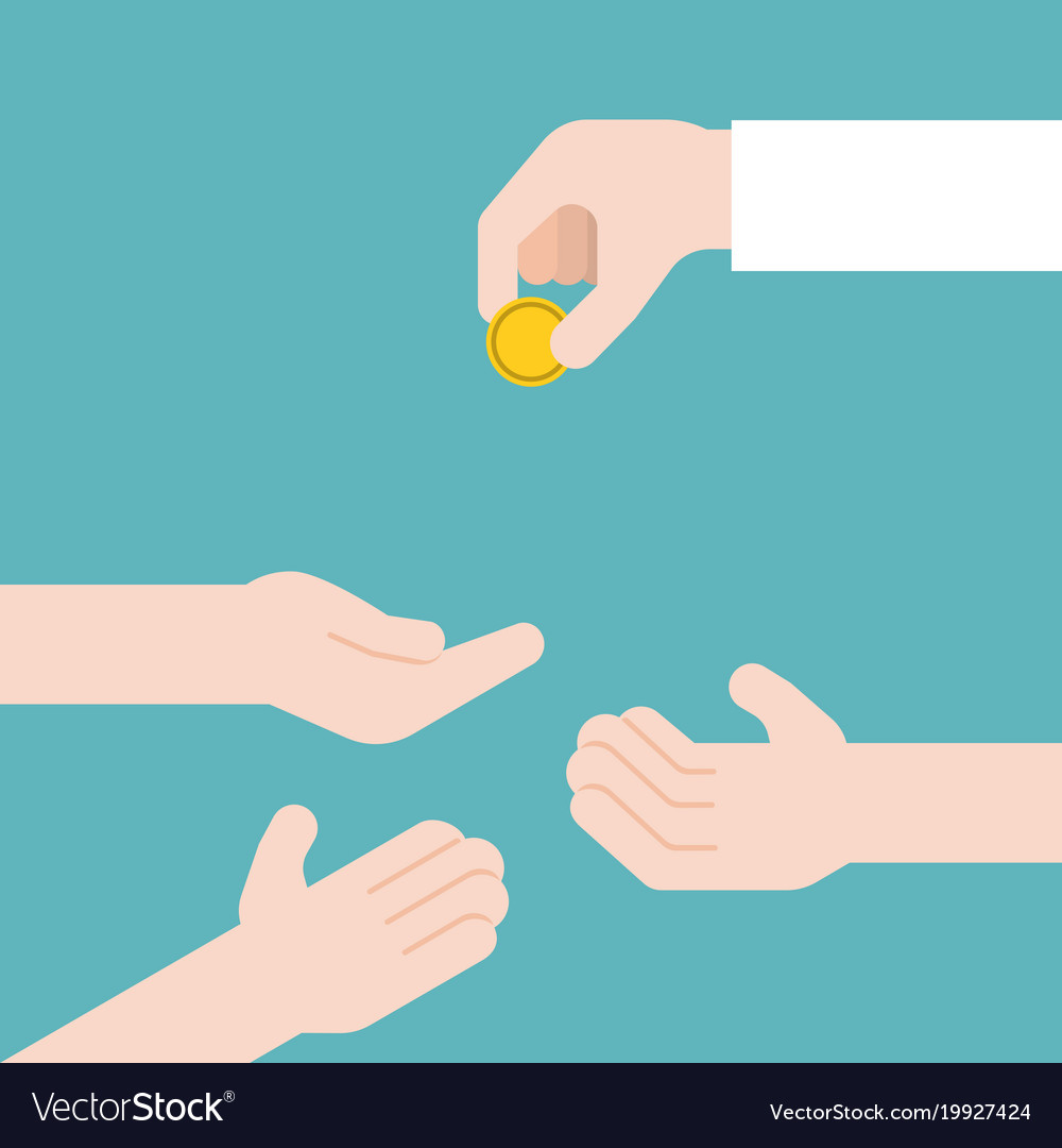 hand giving gold coin and another three hands vector image rh vectorstock com giving hands vector art Serving Hands Clip Art