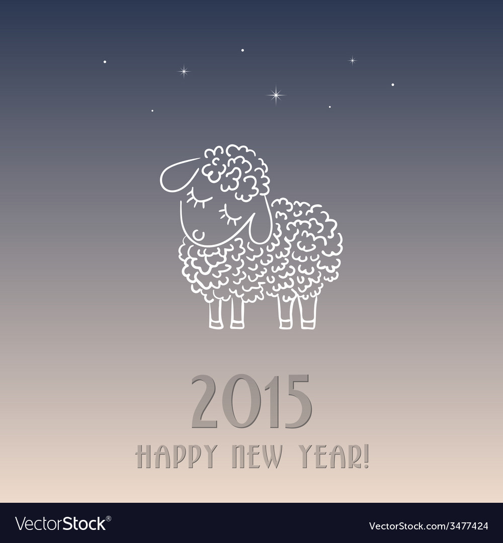new year card with a sheep symbol of 2015 vector image