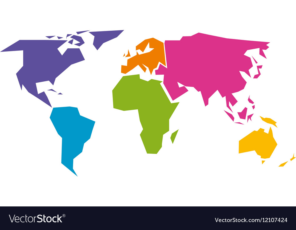 Simplified world map divided to six continents in vector image gumiabroncs Image collections