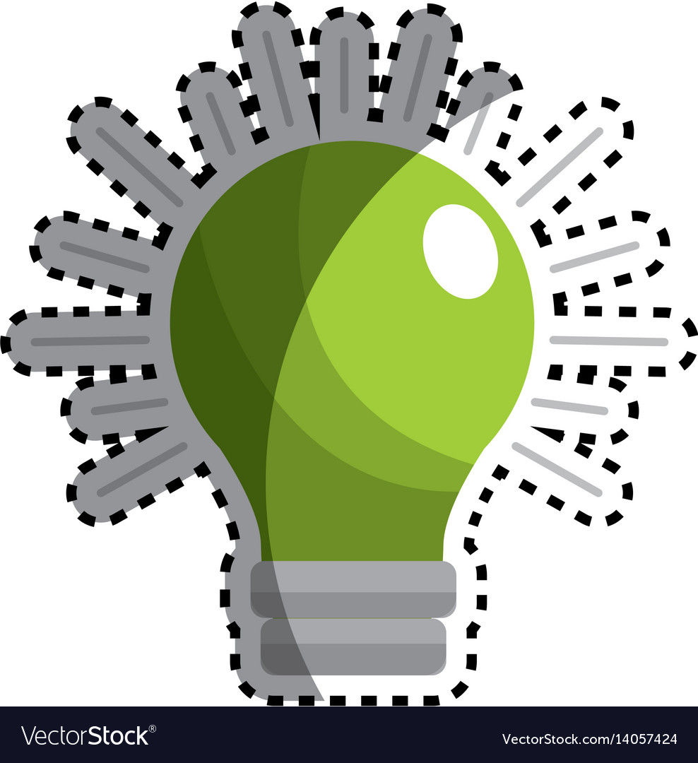Sticker green traditional bulb light icon vector image