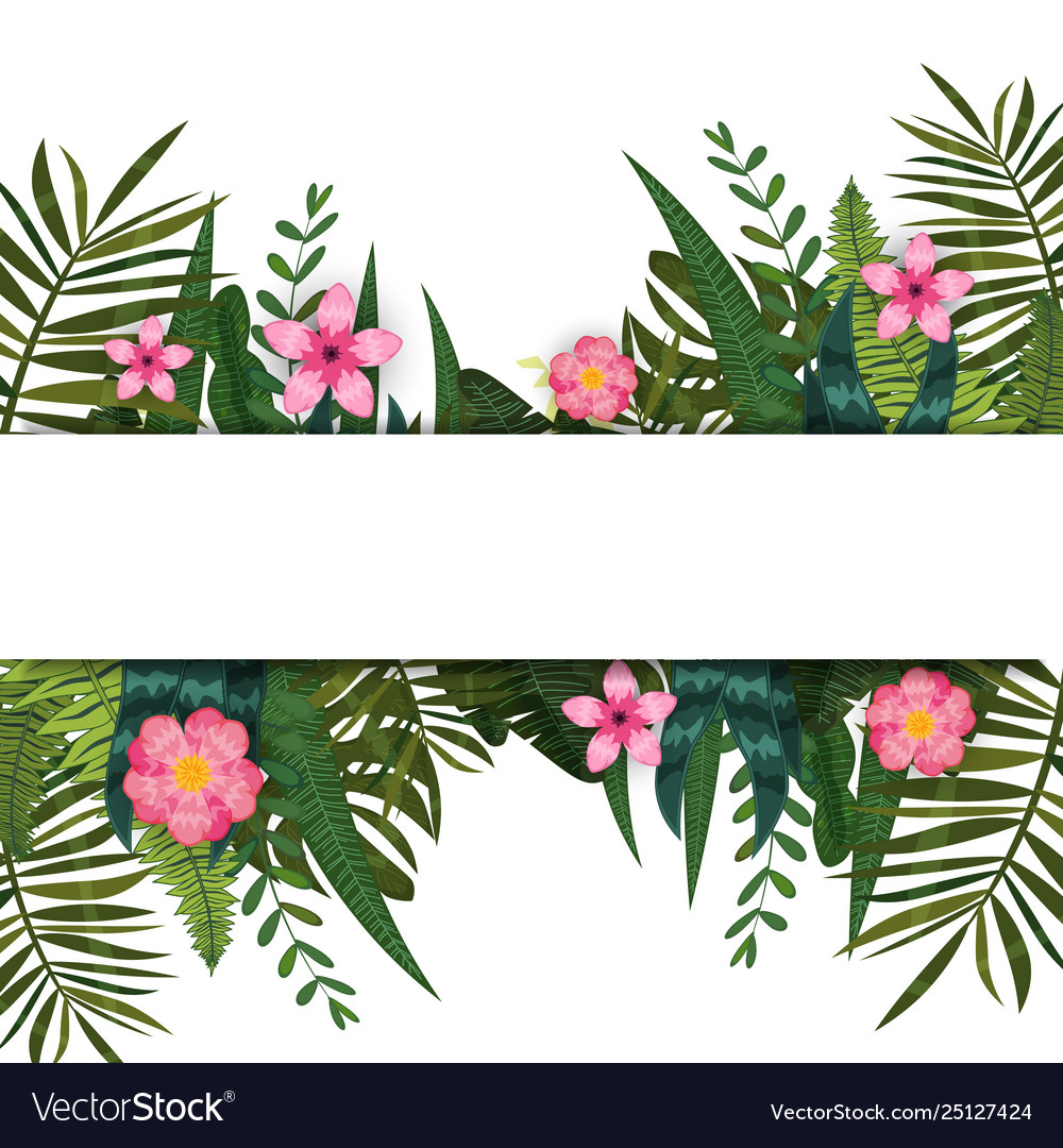 Summer trendy tropical leaves and flowers design