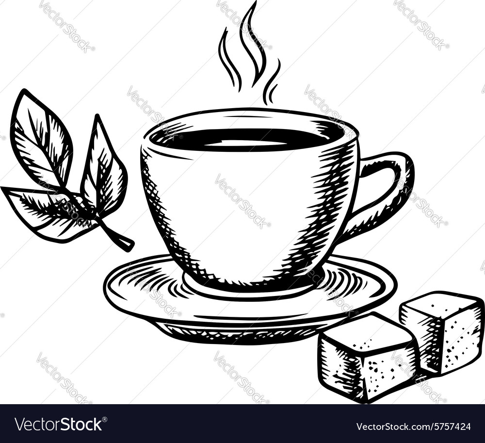 Tea cup with sugar and mint leaves