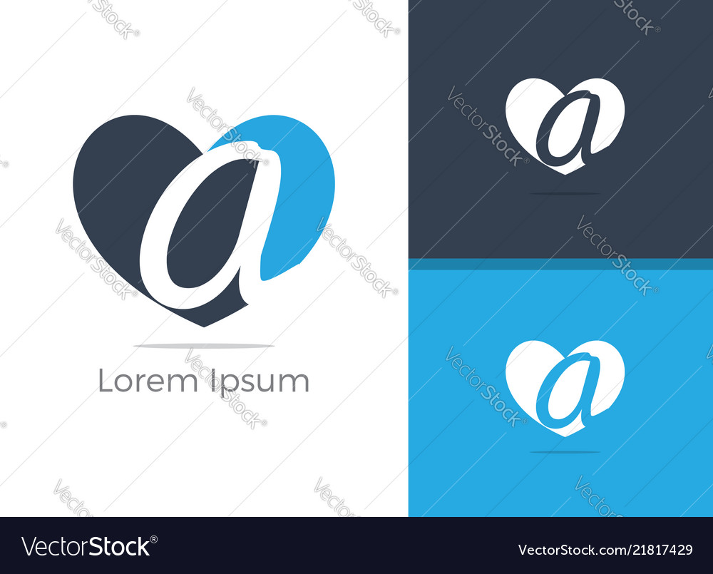 A letter logo letter a in heart icon