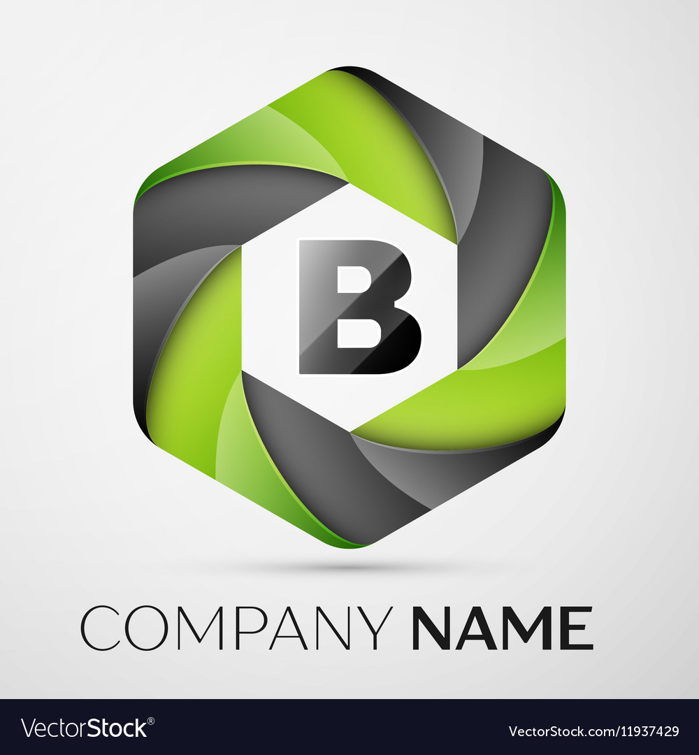 B Letter colorful logo in the hexagonal on grey