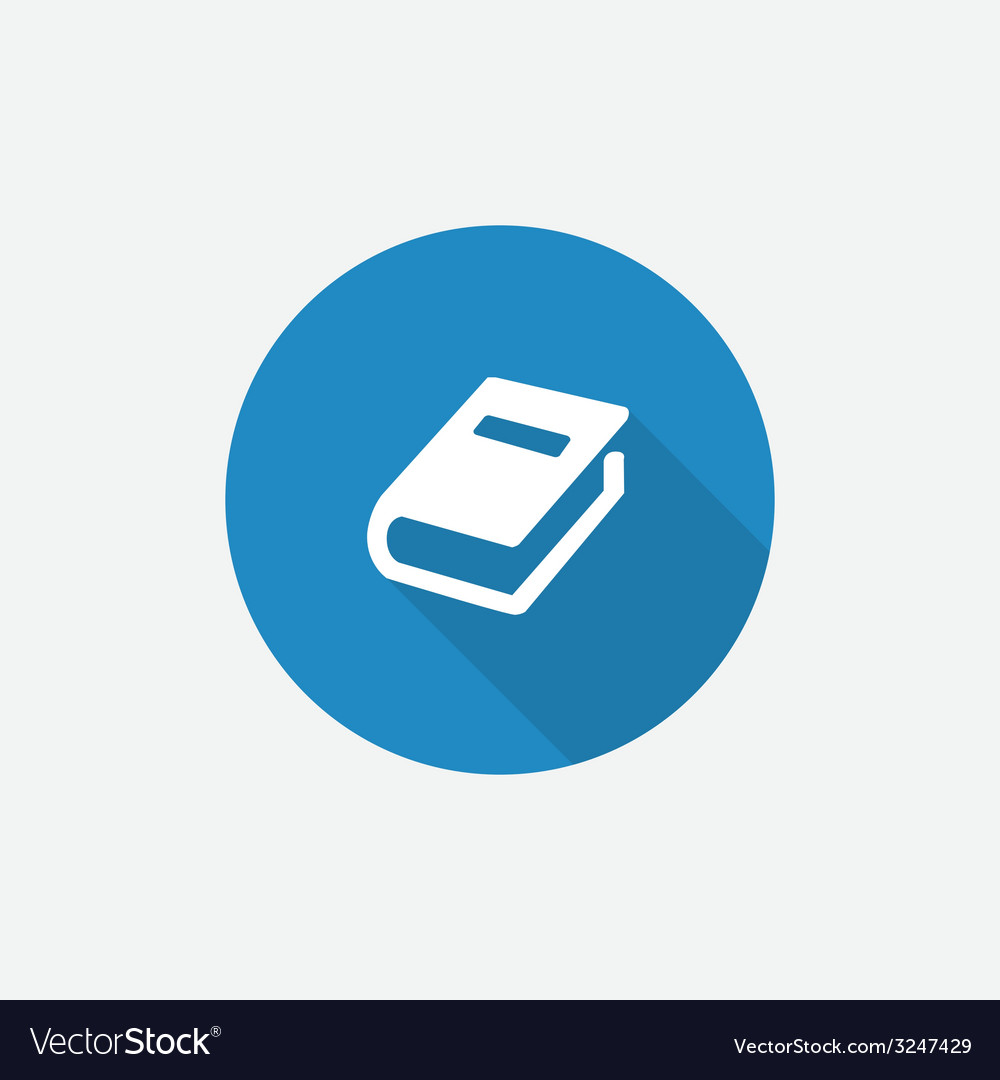 Book Flat Blue Simple Icon with long shadow vector image