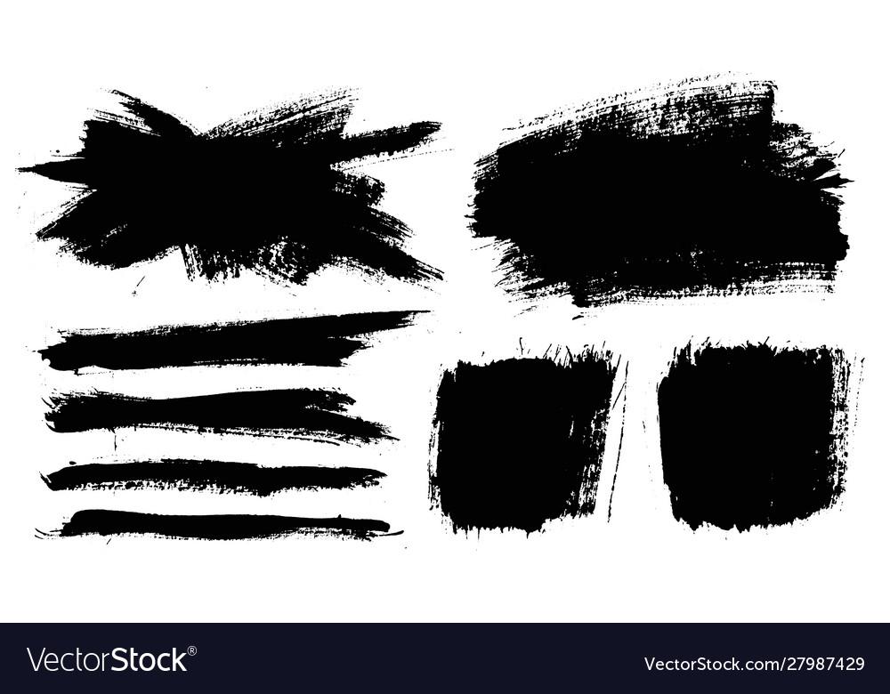 Brush strokes paintbrushes set grunge