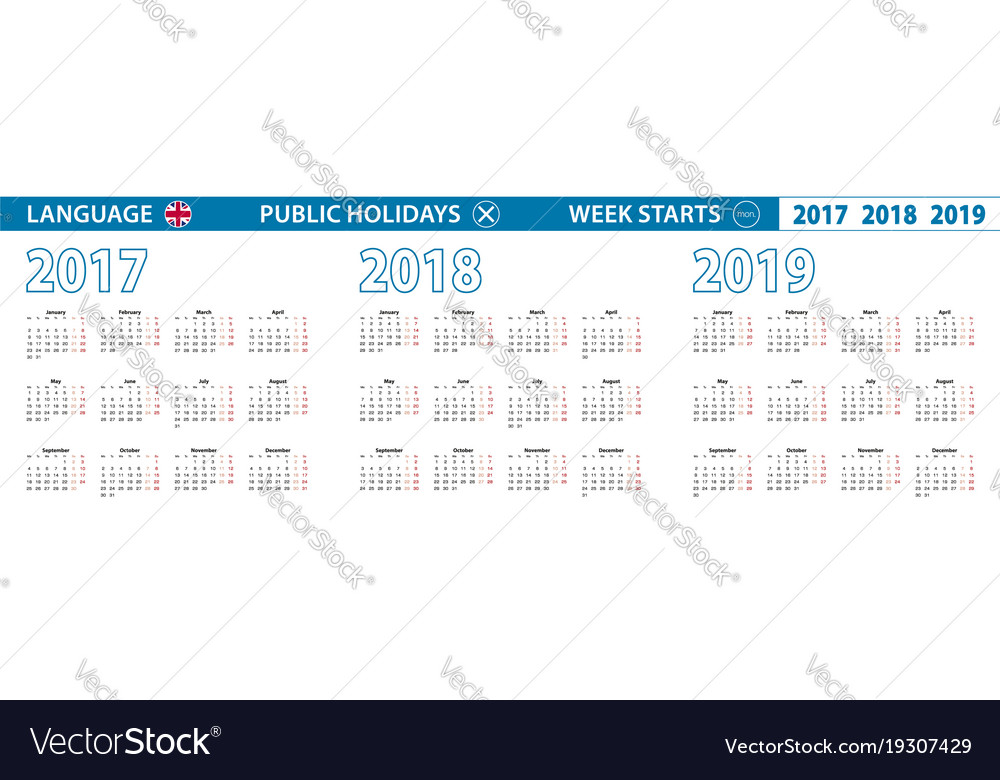 Calendar in english for 2017 2018 2019