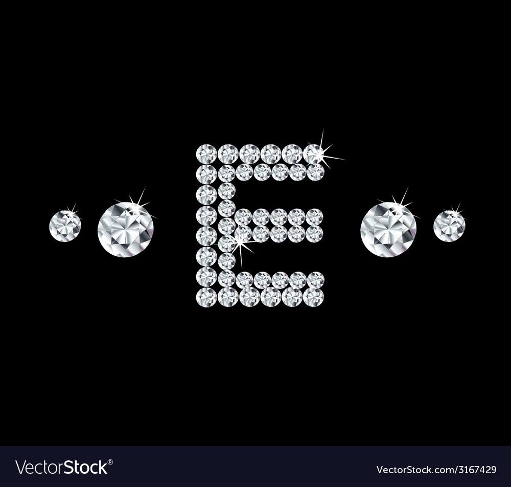 Diamond alphabetic letter E vector image