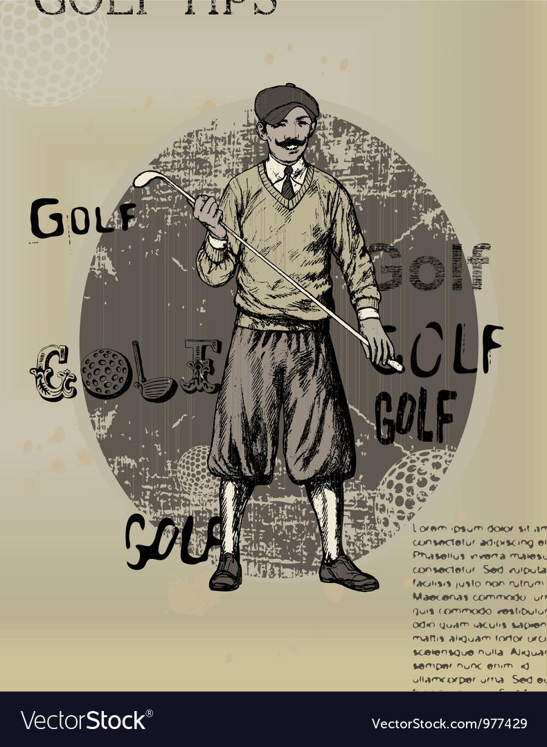 Golfing man old newspaper