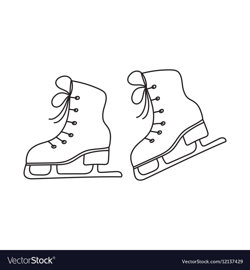 Ice skates line isolated