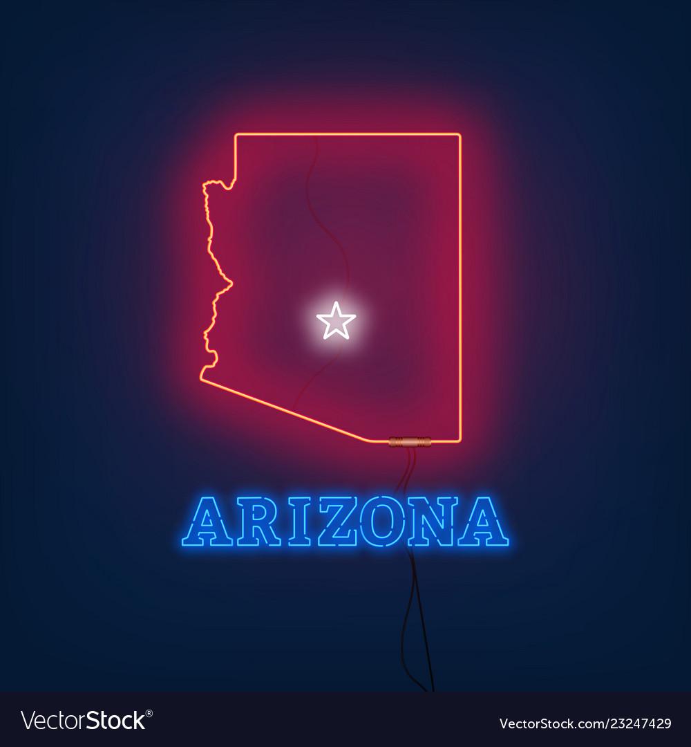 Neon map state of arizona on dark background