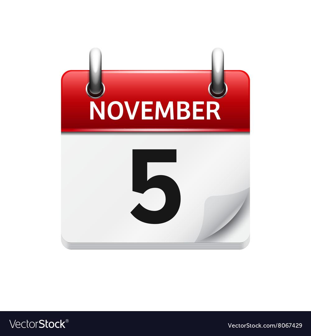 November 5 flat daily calendar icon Date