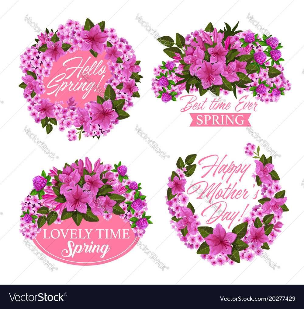 Pink Flower Wreath Icon For Spring Holiday Design Vector Image