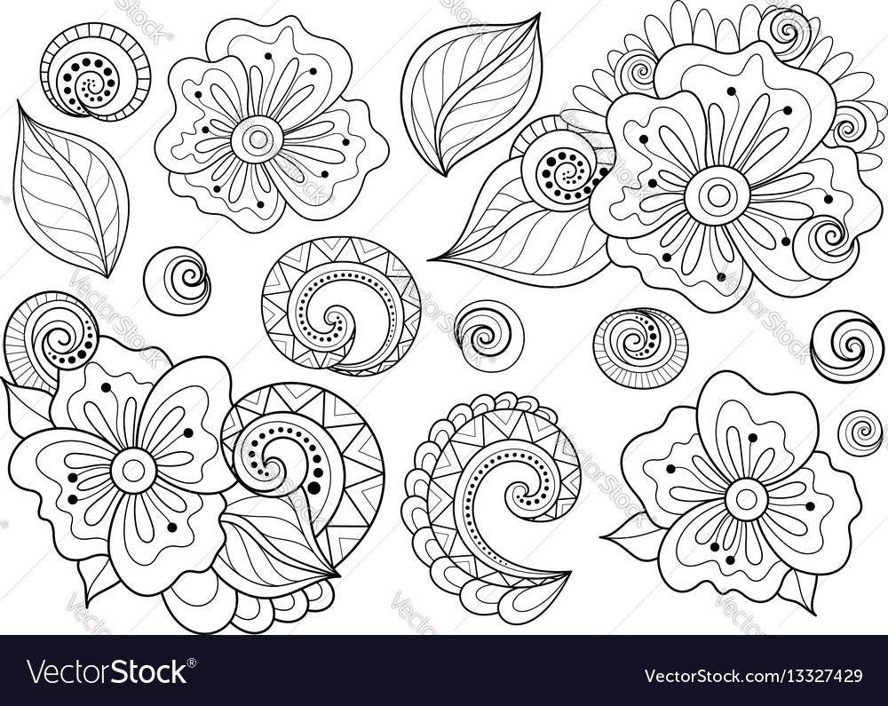 Set beautiful monochrome flowers and leaves