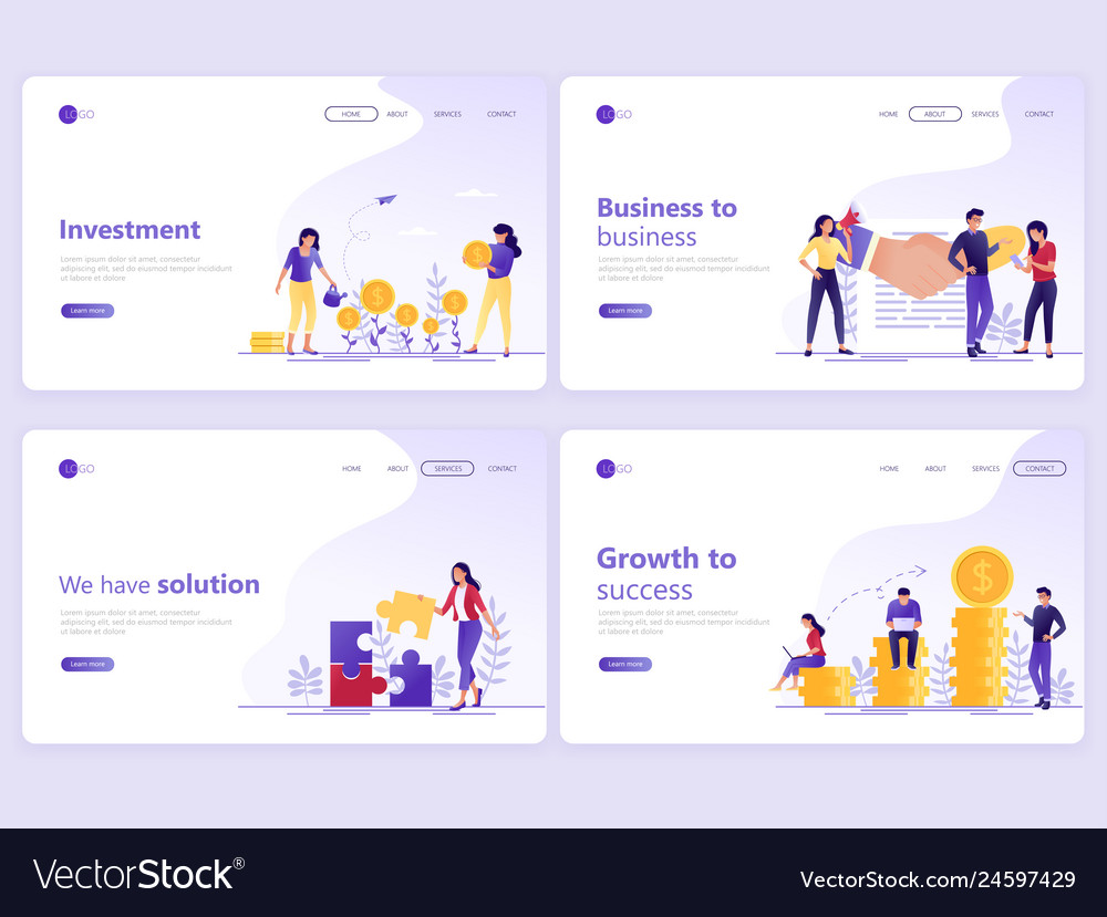 Set landing page templates business investment