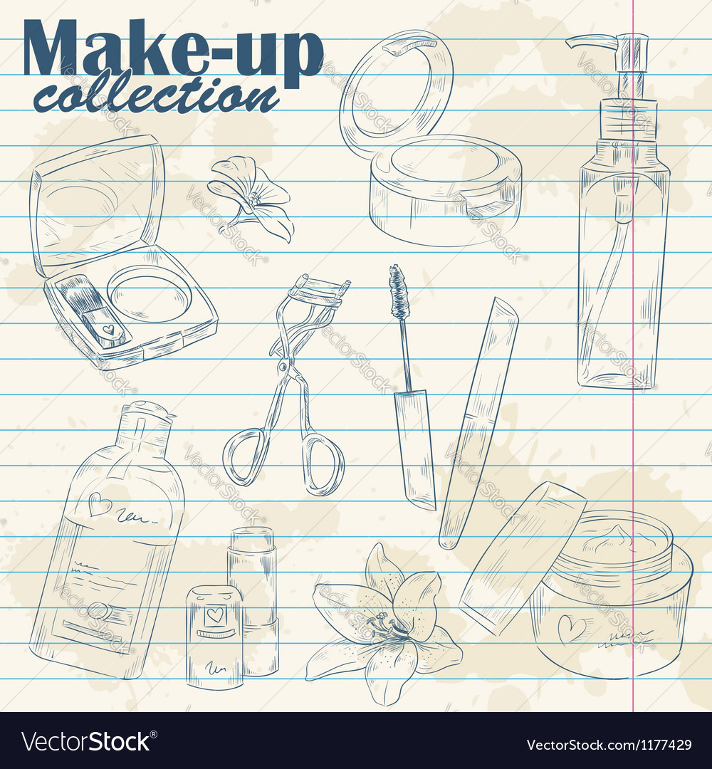 Set of make-up object collection on notebook paper