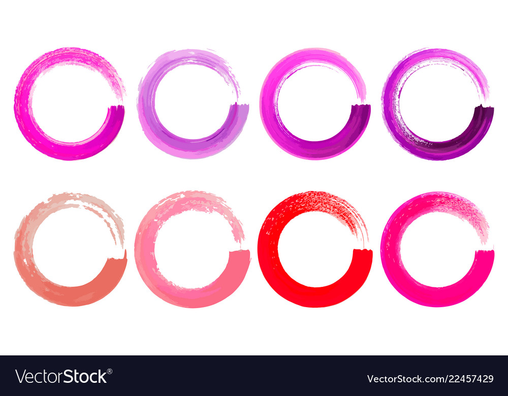 Set watercolor color circles texture ink round