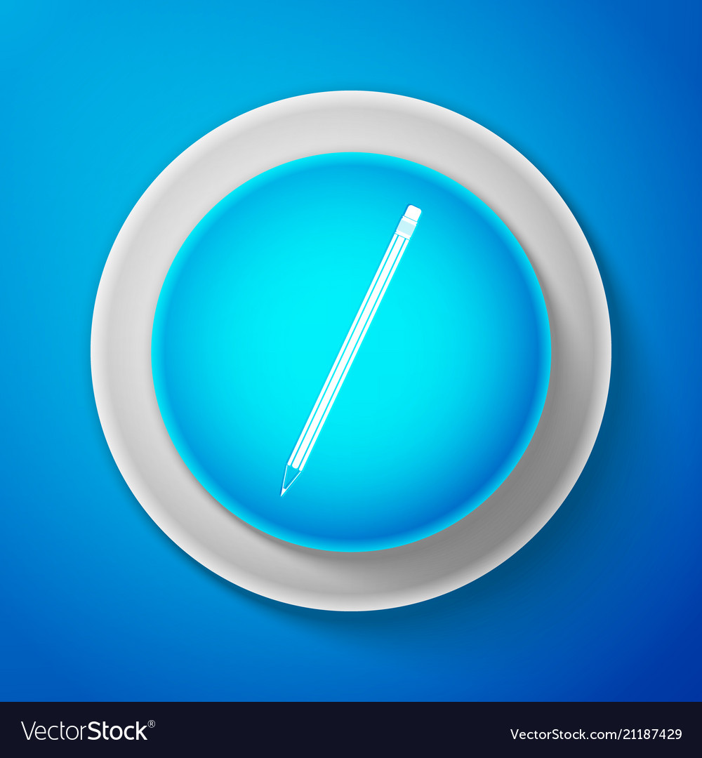 White pencil with eraser icon on blue background