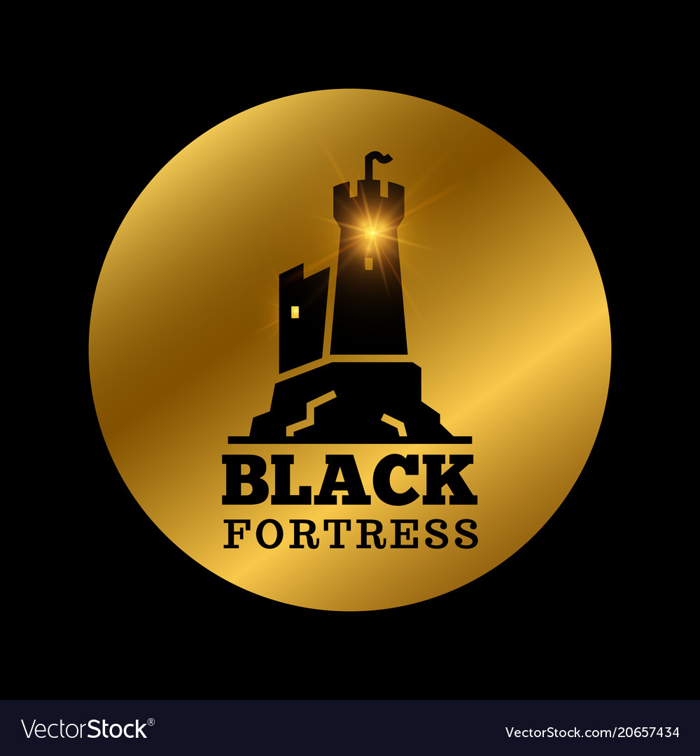 Black medieval castle silhouette fortress label