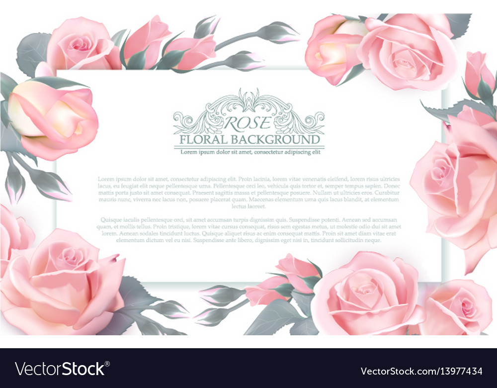 Botanical horizontal banner with roses