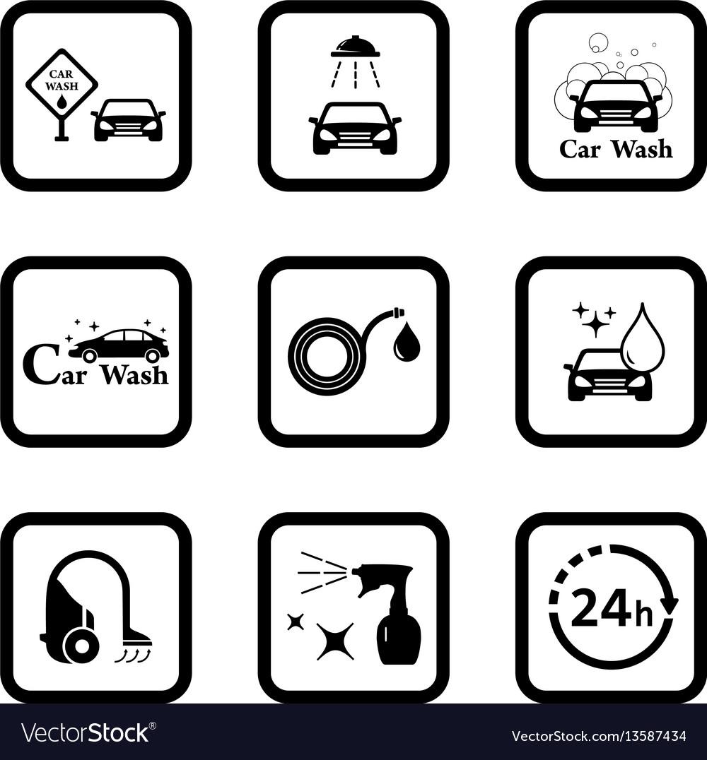Car wash black icon set