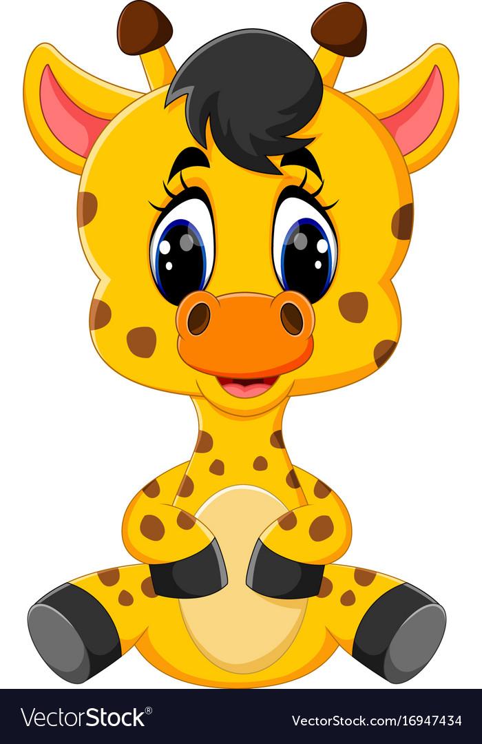 cartoon baby giraffe sitting royalty free vector image rh vectorstock com cartoon baby giraffe drawing cartoon baby giraffe images