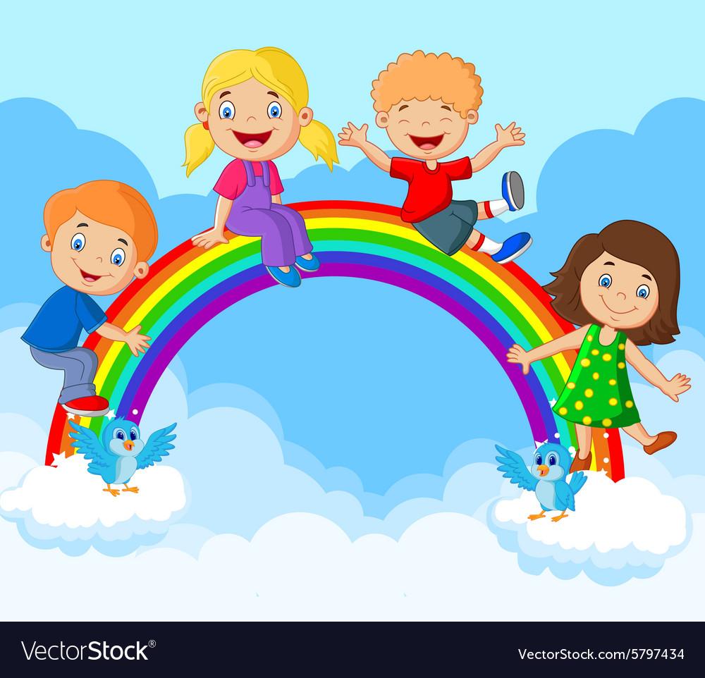 Cartoon Happy kids sitting on rainbow Royalty Free Vector