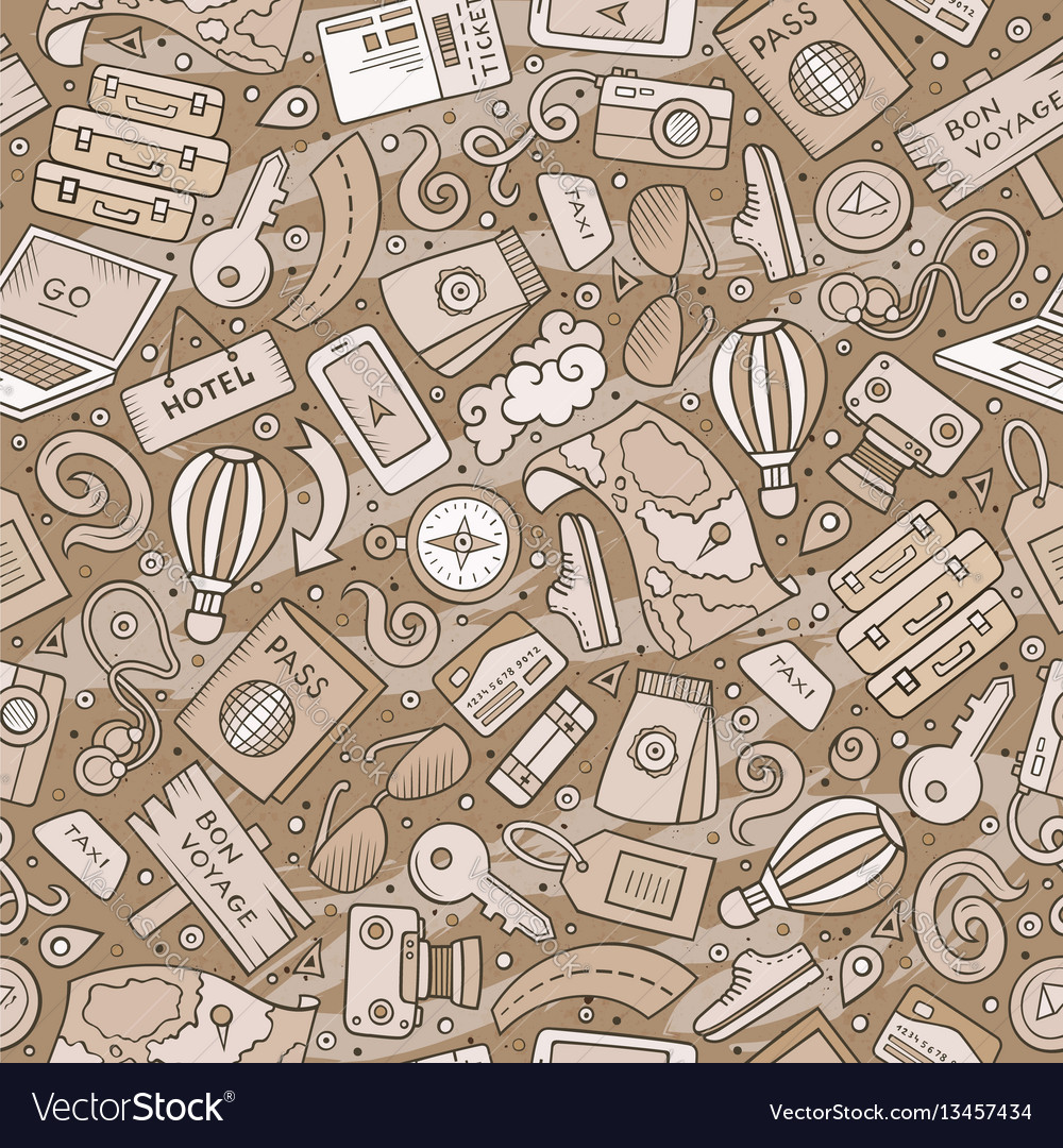 Cartoon traveling seamless pattern with lots of