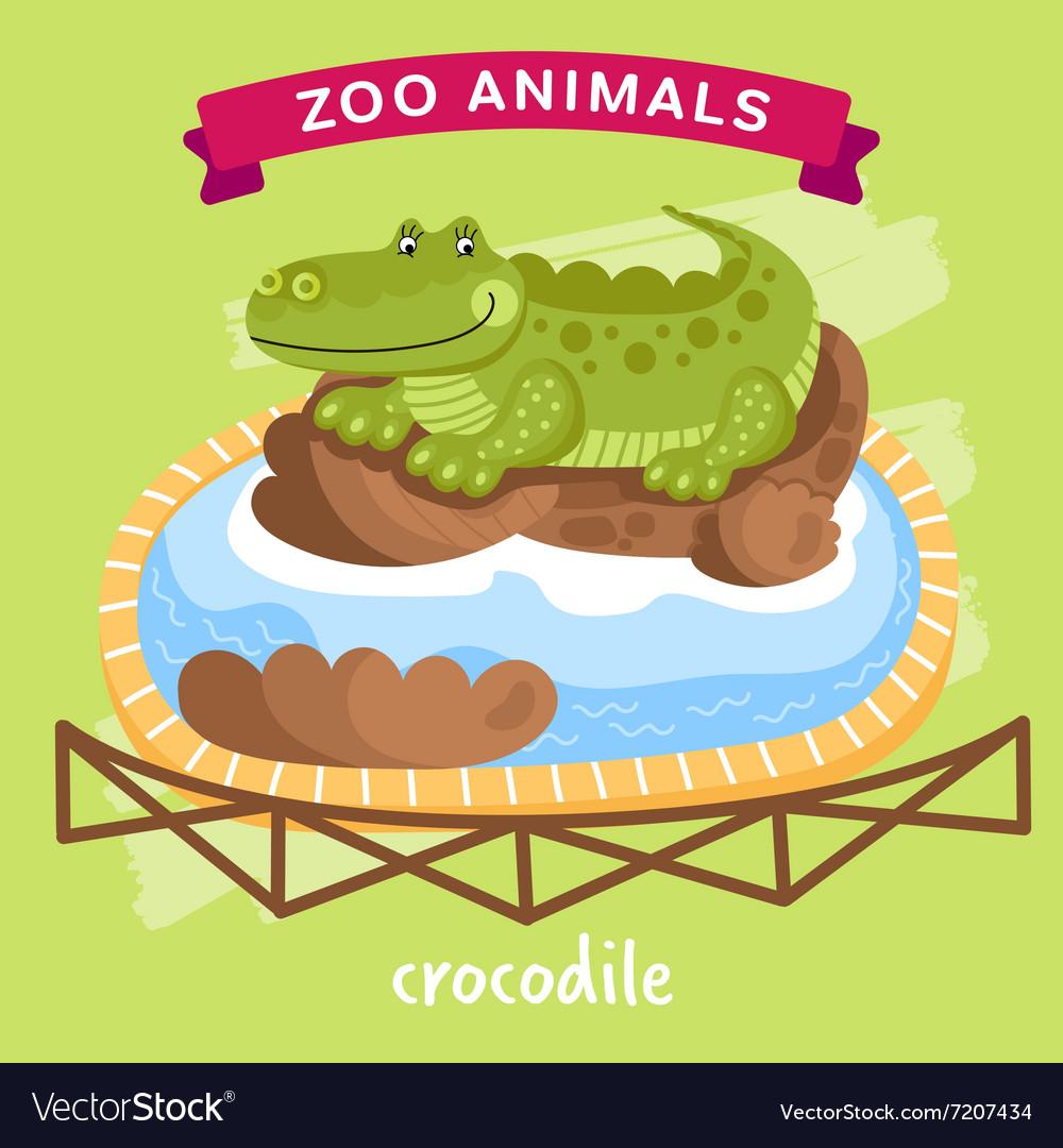 Crocodile at the Zoo Cartoon