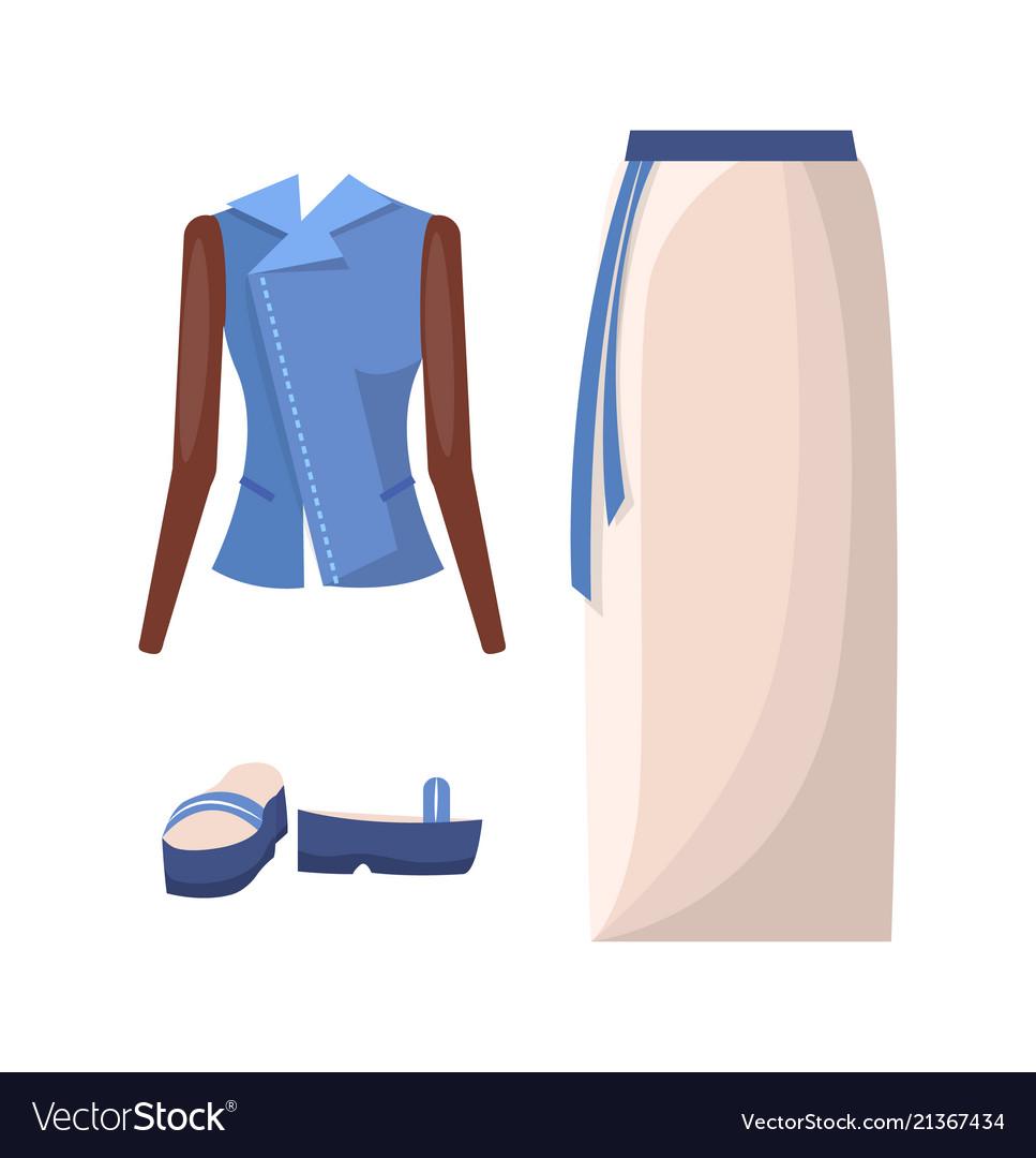 Denim jacket long skirt with belt and flipflops