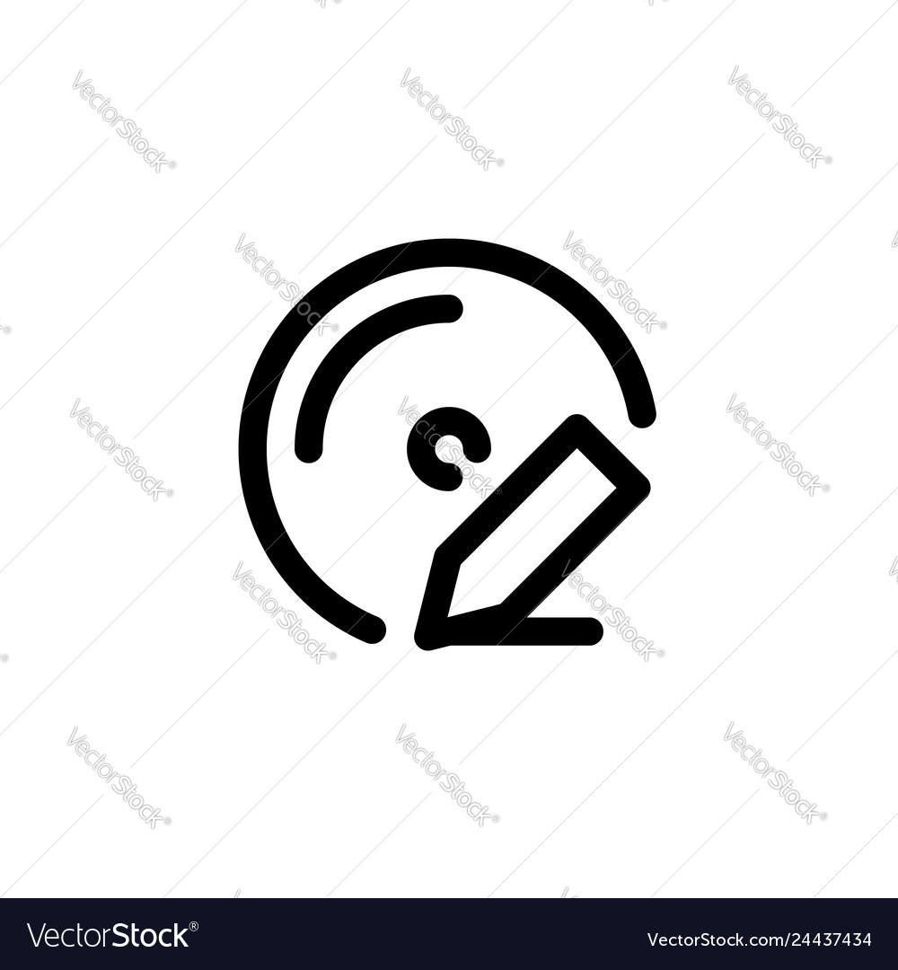 Disc write icon with line style