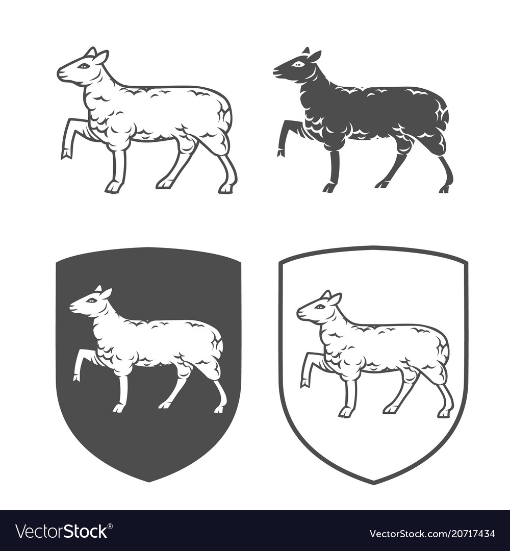 Heraldic shields with lamb