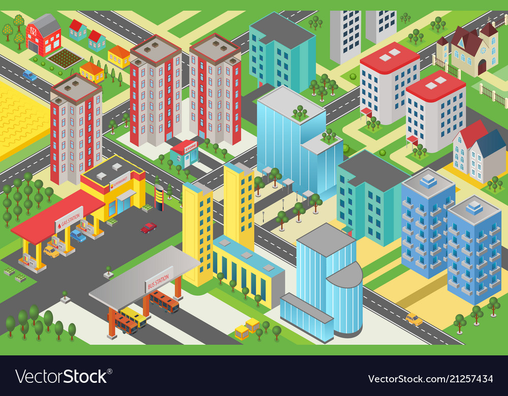 Isometric urban modern city megalopolis view