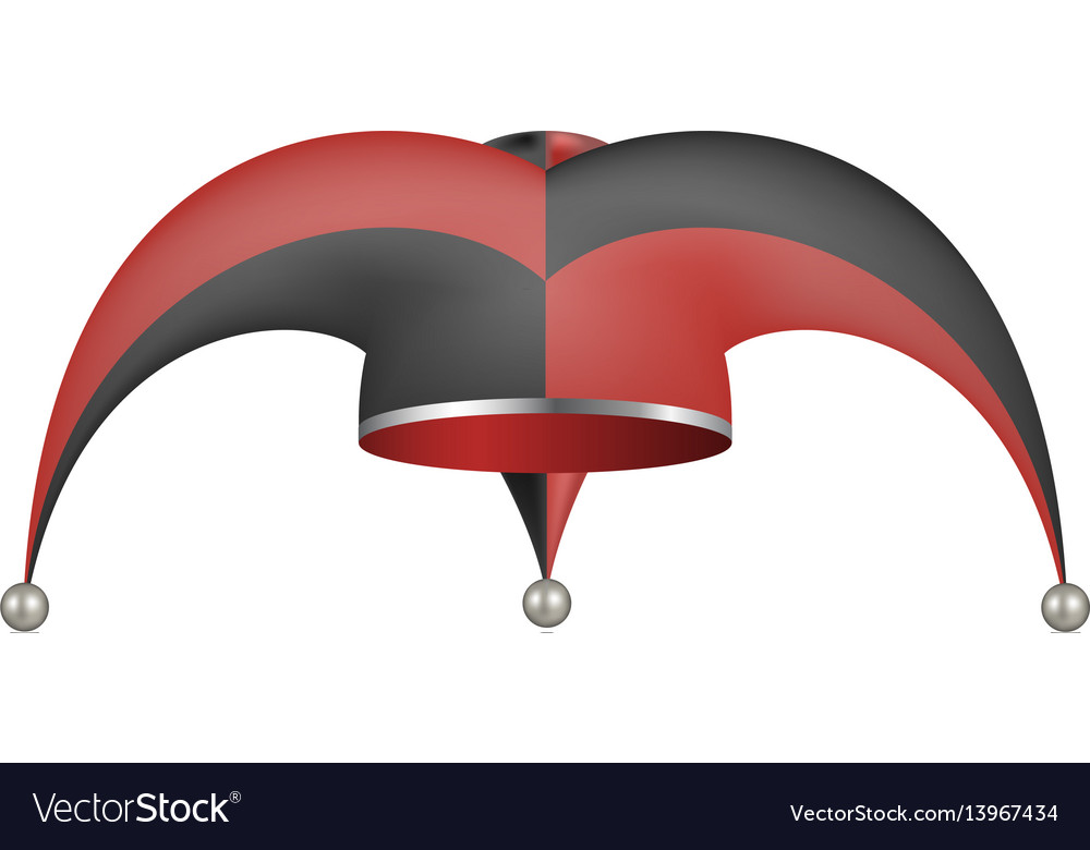 0d8b29ec691 Jester hat in black and red design Royalty Free Vector Image