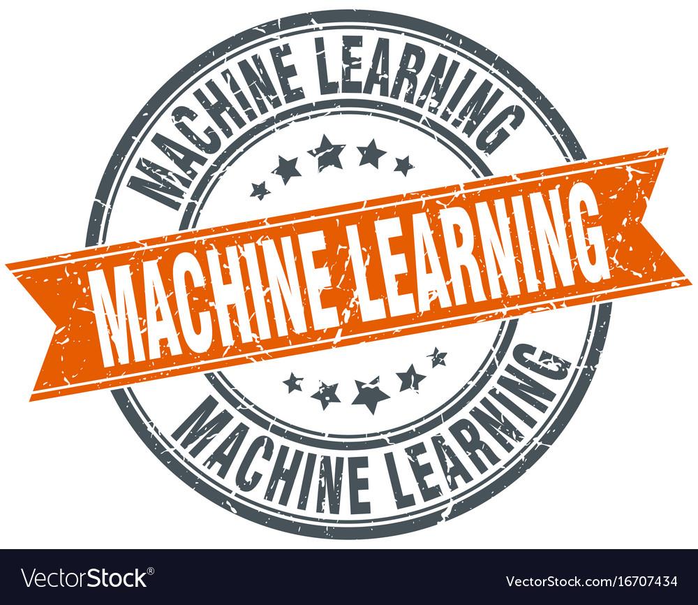 Machine learning round grunge ribbon stamp