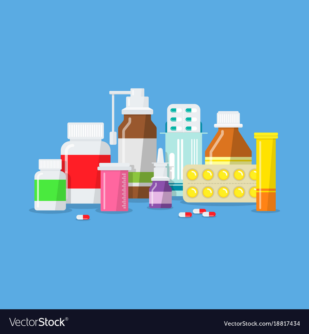 Medical tablets capsules pills bottles vector image