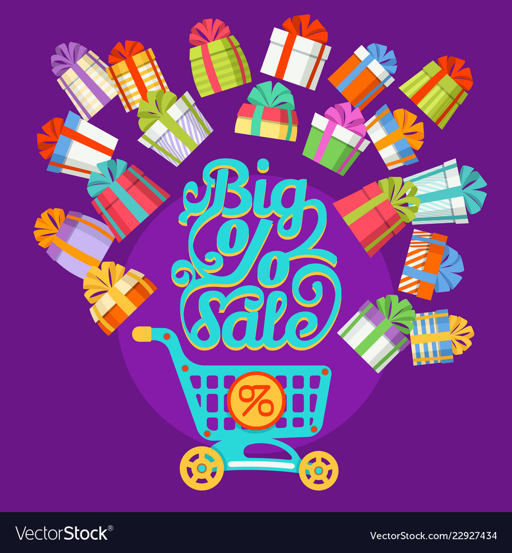New year gift boxes shopping cart big sale text