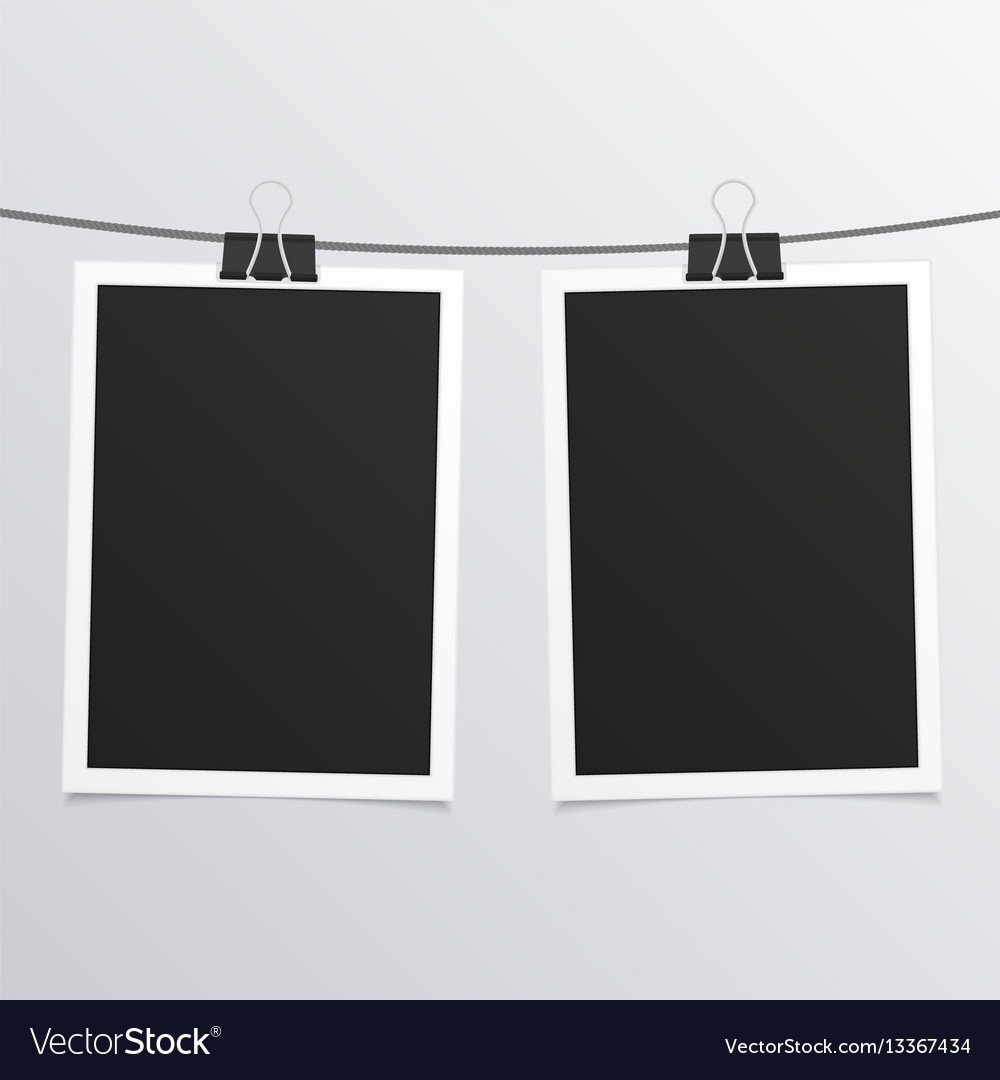 Retro photo frames on rope Royalty Free Vector Image