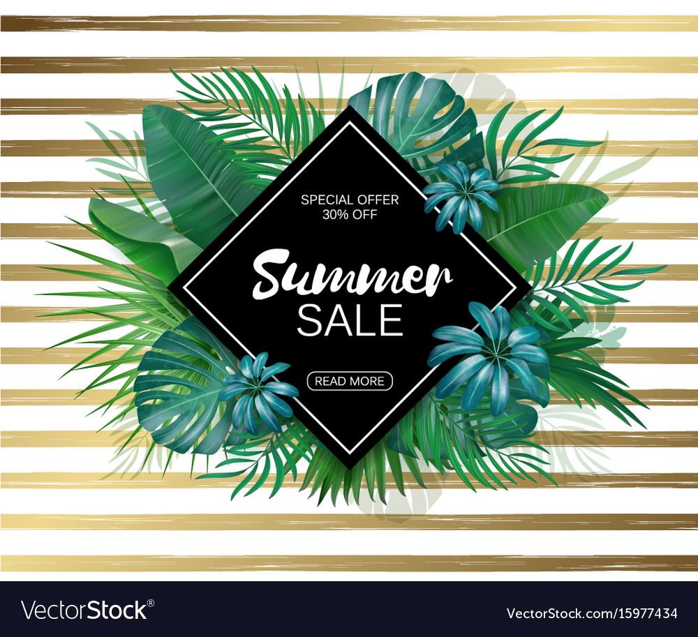 Sale rhombus summer sale tropical leaves frame on