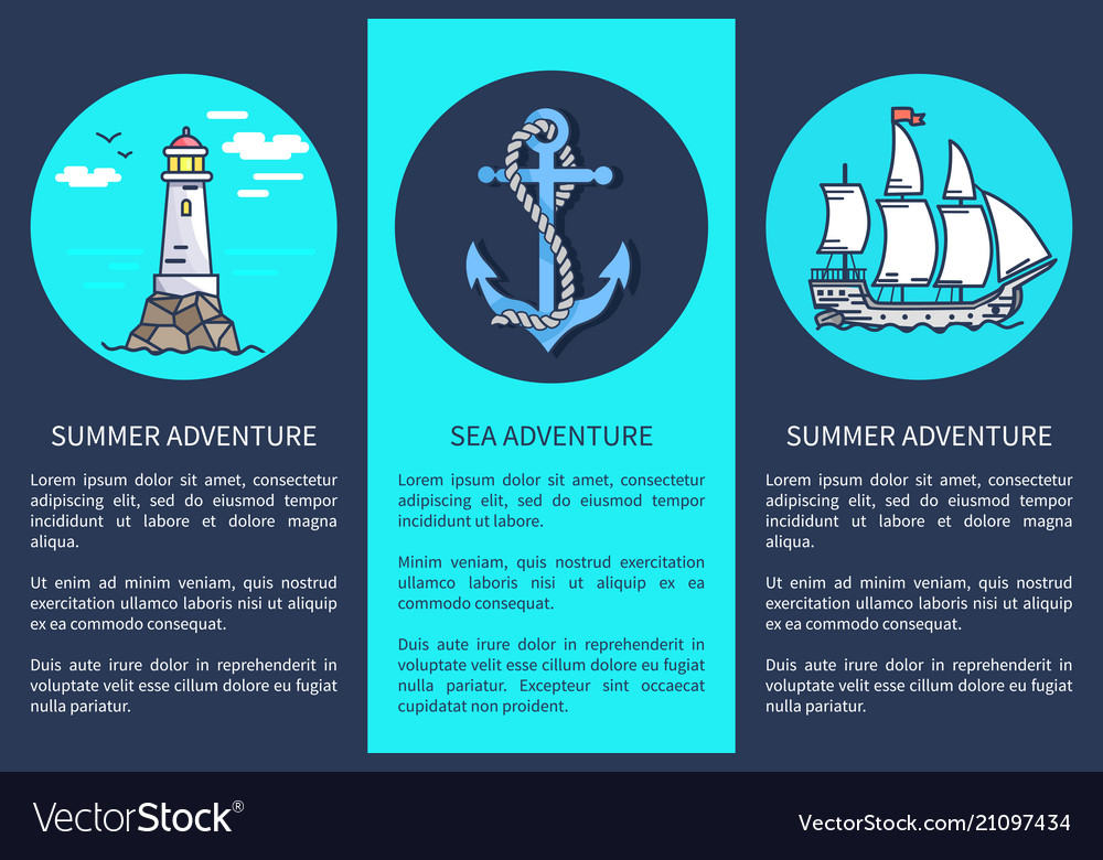 Set posters for sea and summer adventures