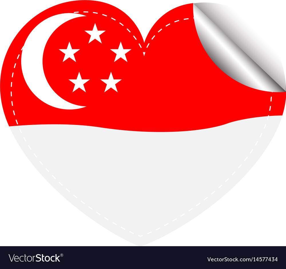 Sticker template for singapore flag vector image