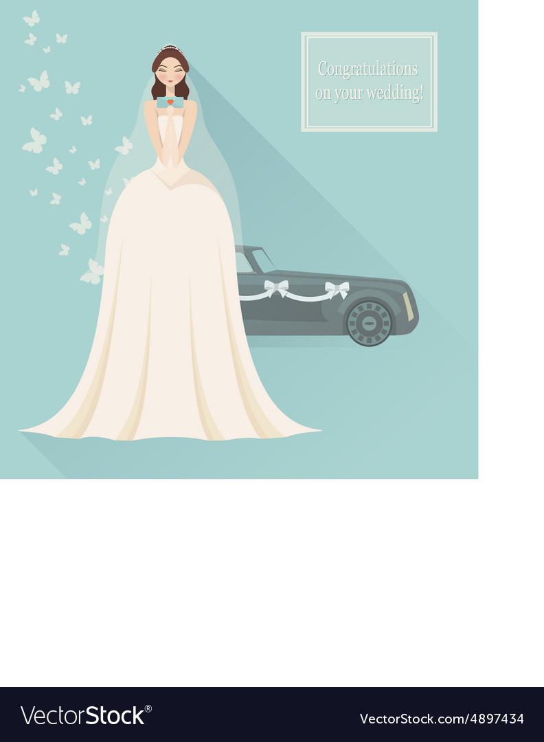 Wedding invitation Bride in lace wedding dress
