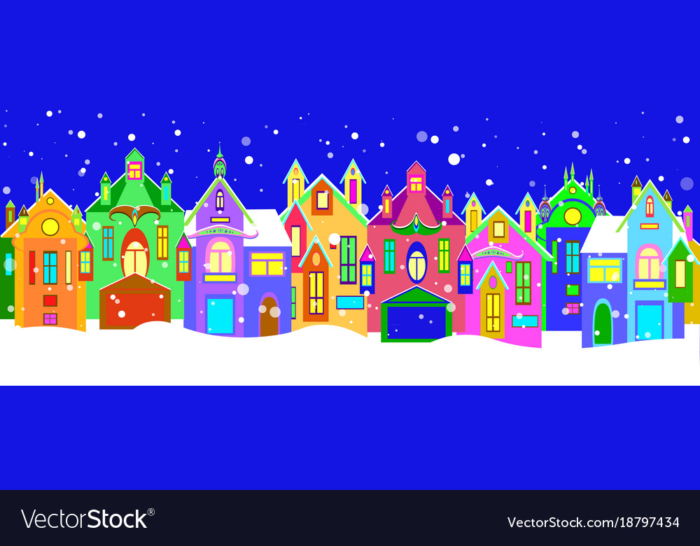 Winter houses with christmas decoration
