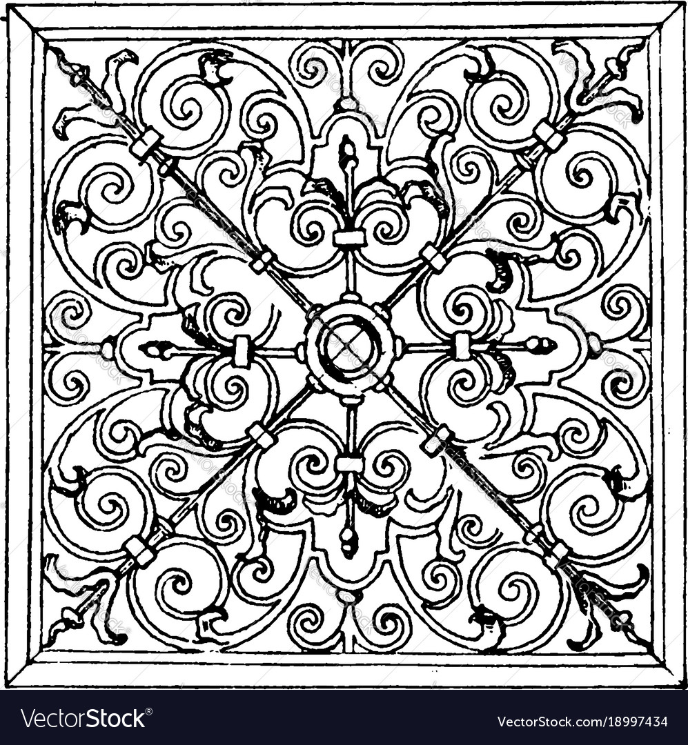 Wrought-iron square panel was designed in 1713 in