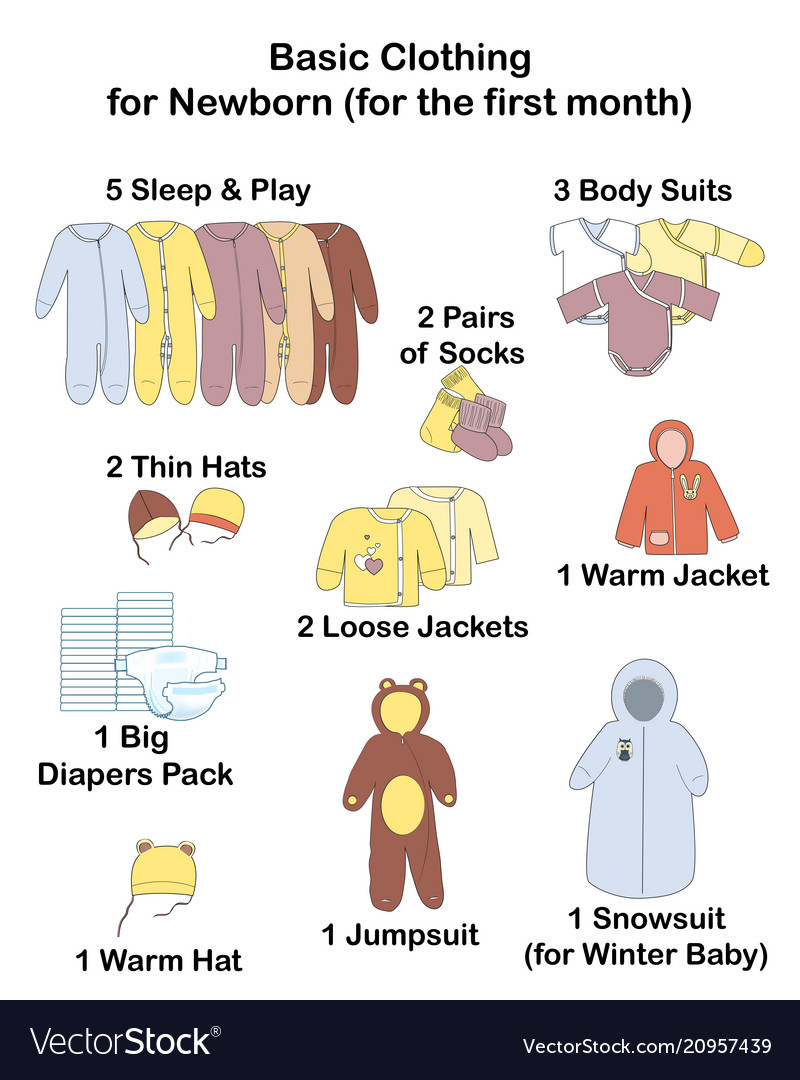 734be4087 Baby infographics what clothing to buy for the Vector Image
