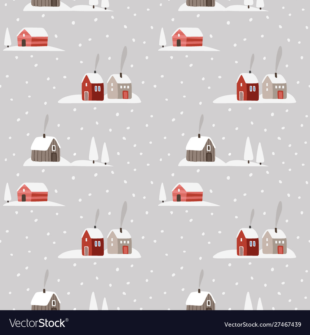 Beautiful christmas seamless pattern winter snowy