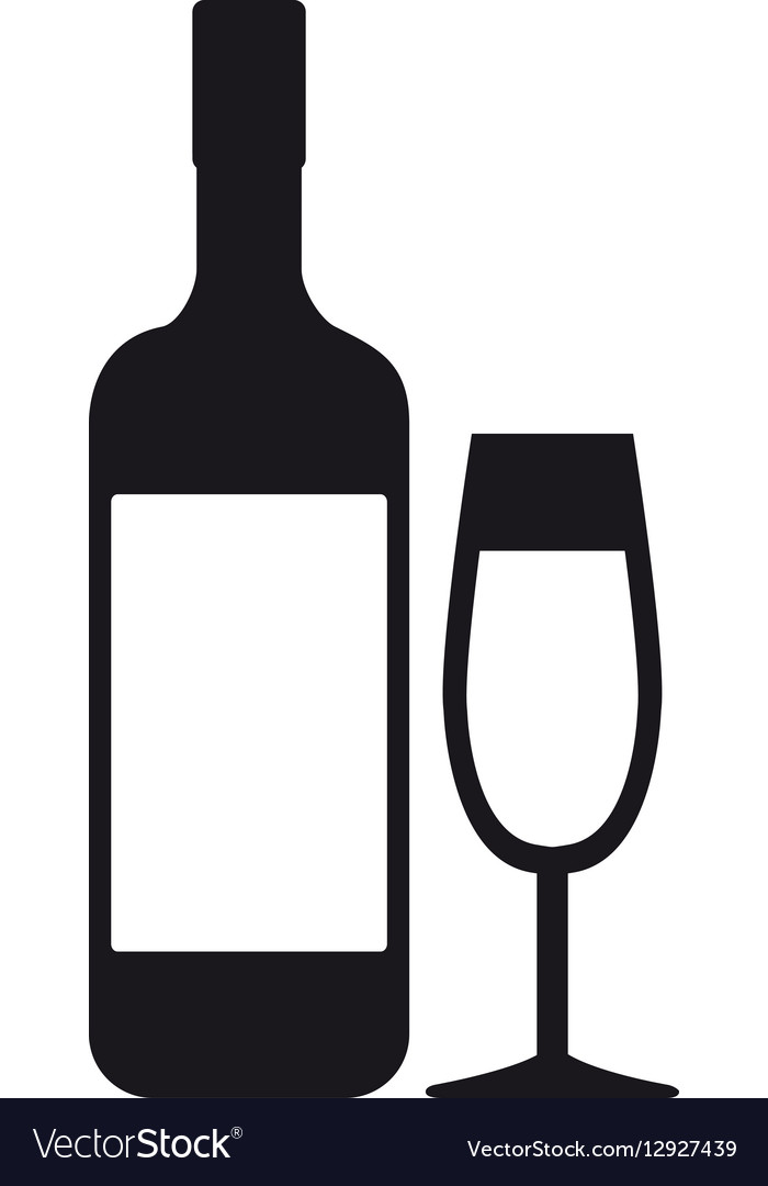 Bottle glass cup drink beverage pictogram vector image