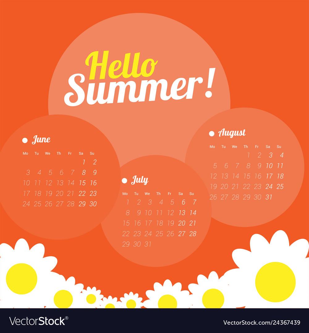 Calendar for three months for the summer season